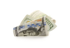 100 долларовых банкнот изолированных на белой предпосылке Стоковые Изображения