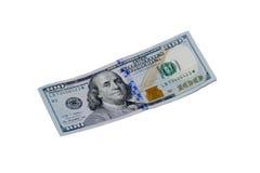 100 долларовых банкнот изолированных на белой предпосылке Стоковая Фотография RF