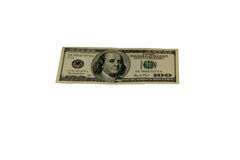 100 долларовых банкнот изолированных на белой предпосылке Стоковое фото RF