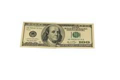 100 долларовых банкнот изолированных на белой предпосылке Стоковые Изображения RF