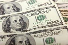 100 долларовых банкнот, конец вверх, предпосылка денег Стоковая Фотография