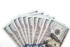 100 долларовых банкнот на белой предпосылке Стоковые Фото