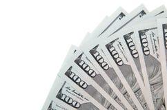 100 долларовых банкнот на белой предпосылке Стоковая Фотография