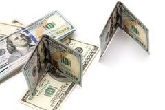 100 долларовых банкнот на белой предпосылке Стоковое фото RF