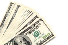 100 долларовых банкнот на белой предпосылке Стоковое Изображение RF