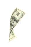 100 долларовых банкнот падая на белую предпосылку Стоковая Фотография