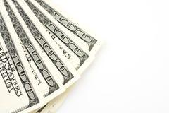 100 долларовых банкнот против белой предпосылки Стоковые Фотографии RF