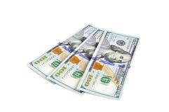 100 долларовых банкнот Соединенных Штатов на белой предпосылке Стоковые Фото