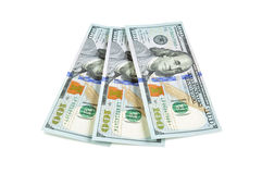 100 долларовых банкнот Соединенных Штатов на белой предпосылке Стоковое Изображение RF
