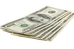100 долларовых банкнот США на белой предпосылке Стоковые Изображения