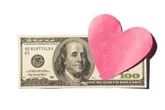 100 долларовых банкнот с в форме Сердц примечанием Postit Стоковое Фото