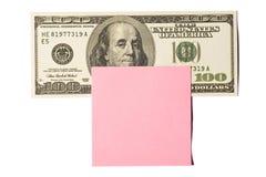 100 долларовых банкнот с розовым примечанием Postit Стоковое Изображение RF