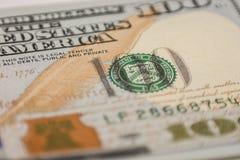 100 долларовых банкнот, фотография макроса Стоковая Фотография