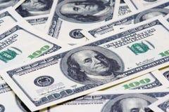 100 долларовых банкнот для предпосылки Стоковые Изображения