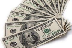 100 долларовых банкнот для предпосылки Стоковая Фотография RF