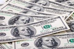 100 долларовых банкнот для предпосылки Стоковое Изображение RF