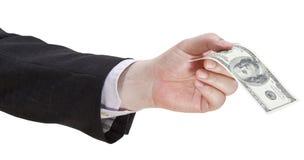 100 долларов банкноты в руке бизнесмена Стоковое Фото