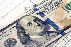 100 долларов банкноты над диаграммой фондовой биржи Фильтрованное изображение: влияние обрабатываемое крестом винтажное Стоковые Изображения RF