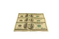 100 долларов банкнот изолированных на белизне Стоковые Фото