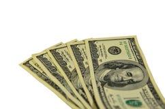 100 долларов банкнот изолированных на белизне Стоковые Изображения RF