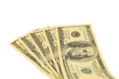 100 долларов банкнот изолированных на белизне Стоковая Фотография