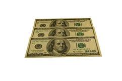 100 долларов банкнот изолированных на белизне Стоковое Изображение
