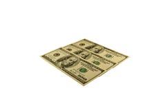 100 долларов банкнот изолированных на белизне Стоковое Изображение RF