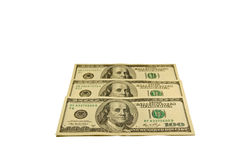 100 долларов банкнот изолированных на белизне Стоковые Фотографии RF