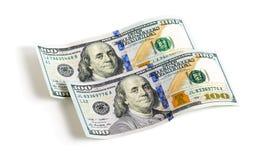 100 долларов банкнот изолированных на белой предпосылке Стоковые Фото