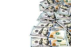 100 долларов банкнот на белой предпосылке Стоковая Фотография RF