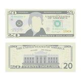 20 долларов вектора банкноты Валюта США шаржа 2 стороны иллюстрации Билла денег 20 американцев изолированной cash бесплатная иллюстрация