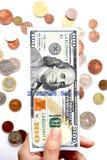 100 долларов в наличии и монетка Стоковые Изображения RF