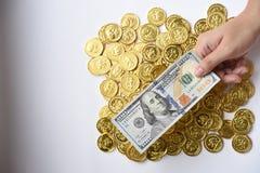 100 долларов в наличии и монетки Стоковые Изображения RF