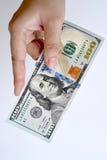 100 долларов в наличии Стоковая Фотография