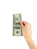 100 долларов в руке Стоковое Изображение