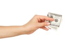 100 долларов в ` s женщины вручают, изолированный Стоковые Изображения RF