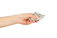 100 долларов в ` s женщины вручают, изолированный Стоковые Фотографии RF