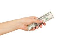 100 долларов в ` s женщины вручают, изолированный Стоковые Изображения