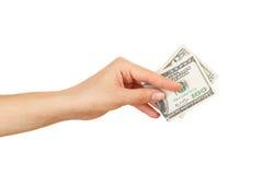 100 долларов в ` s женщины вручают, изолированный Стоковая Фотография RF