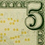 5 долларов деталей Стоковое Изображение RF
