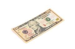 10 долларов изолированных на белизне Стоковые Изображения