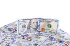 100 долларов изолированных на белой предпосылке Стоковые Фотографии RF