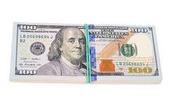 100 долларов изолированных на белой предпосылке Стоковые Фото