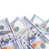 100 долларов изолированных на белой предпосылке Стоковые Изображения