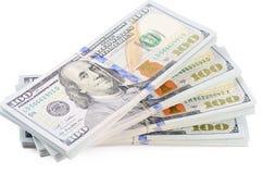 100 долларов изолированных на белой предпосылке Стоковое Фото