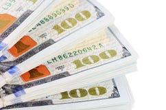 100 долларов изолированных на белой предпосылке Стоковые Изображения RF