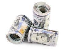 100 долларов изолированных на белой предпосылке Стоковая Фотография