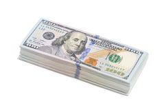 100 долларов изолированных на белой предпосылке Стоковая Фотография RF