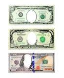 100 долларов и тысяча примечаний доллара продырявливают вместо изолированные президенты Стоковое Фото