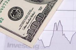 100 долларов конца-вверх на план-графике Стоковые Изображения RF